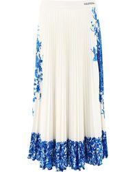 "Valentino ""bluegrace Bouquet"" Pleated Skirt"