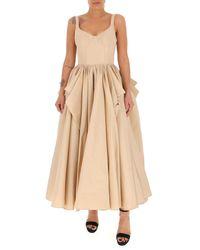 Alexander McQueen Corset Sleeveless Drape Dress - Natural
