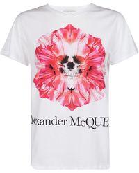 Alexander McQueen Flower Skull T-shirt - White