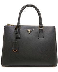 Prada Galleria Round Top Handle Bag - Black