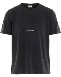 Saint Laurent Washed Logo T-shirt - Grey