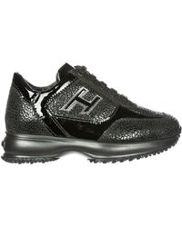 Hogan Contrasting Panelled Chunky Trainers - Black