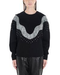 Isabel Marant Valia Embellished Wool And Cotton Sweatshirt - Black