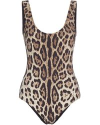 Dolce & Gabbana - Leopard Print Swimsuit - Lyst
