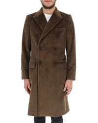 Dolce & Gabbana Double-breasted Corduroy Coat - Brown