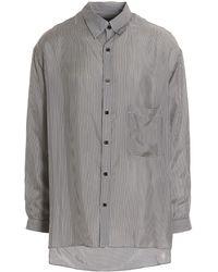 Yohji Yamamoto Striped Long-sleeved Shirt - Gray