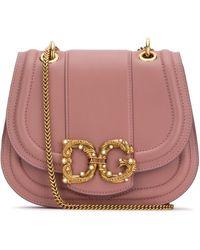 Dolce & Gabbana Amore Logo Embellished Crossbody Bag - Pink