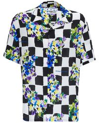 Off-White c/o Virgil Abloh Checkered And Floral Viscose Shirt - Blue