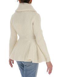 Alexander McQueen Buttoned Rib-knit Cardigan - White