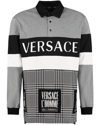 Versace - Logo Print Cotton Polo Shirt - Lyst