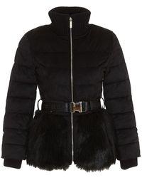 Elisabetta Franchi Faux Fur Belted Puffer Jacket - Black