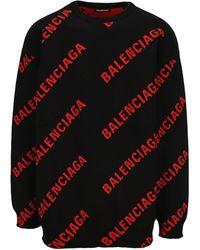 Balenciaga Logo Intarsia Jumper - Black
