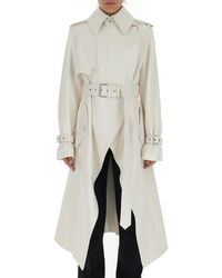 Alexander McQueen - Belted Leather Trench Coat - Lyst
