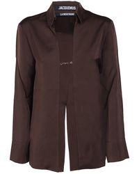Jacquemus Notte Satin Shirt - Brown