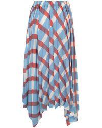 Issey Miyake Checked Pleated Skirt - Blue