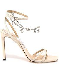 Jimmy Choo Metz 100 Leather Sandals - White