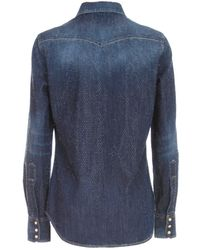 DSquared² Crystal Embellished Western Denim Shirt - Blue