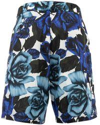 Prada Floral Printed Knee-length Shorts - Blue