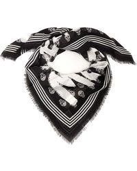 Alexander McQueen Graffiti Skull Printed Scarf - Multicolor
