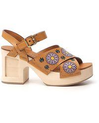 Miu Miu Floral Print Sandals - Natural