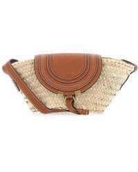 Chloé Marcie Small Leather-trimmed Raffia Basket Bag - Brown