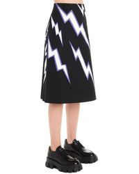 Prada Lightning Bolt Print A-line Skirt - Black