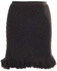 Bottega Veneta Knitted Fringed Mini Skirt - Brown