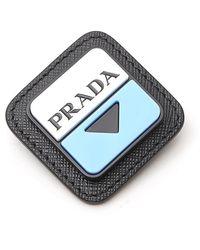 Prada Logo Embossed Brooch - Black