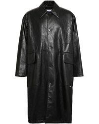 MSGM Faux Leather Button-down Coat - Black