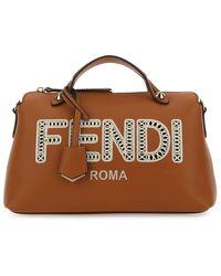 Fendi Logo Embroidered Top Handle Tote Bag - Brown