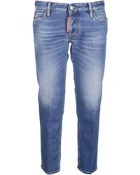 DSquared² Low Rise Cropped Slim Fit Jeans - Blue