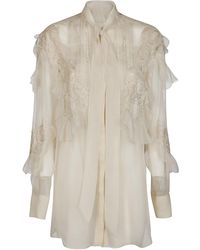 Valentino Ruffled Lace Detail Shirt - White