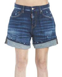 DSquared² Wide-leg Mini Shorts - Blue