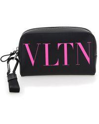 Valentino Vltn Print Toiletry Bag - Black