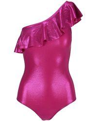 Isabel Marant Sicilya One-shoulder Metallic Swimsuit - Pink