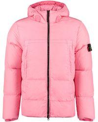 Stone Island Full Zip Padded Jacket - Pink