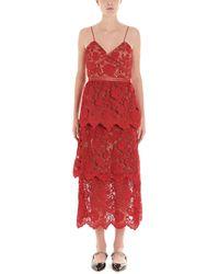 Self-Portrait Flower Lace Midi Dress - Red