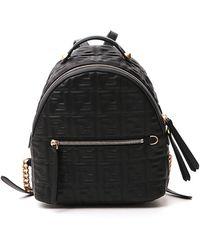 Fendi Ff Logo Embossed Mini Backpack - Black