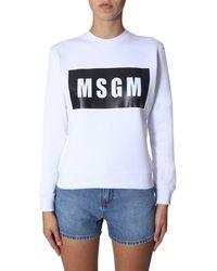 MSGM Crew Neck Sweatshirt - White