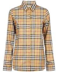 Burberry Check Print Shirt - Natural