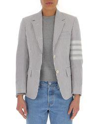 Thom Browne 4-bar Striped Blazer - Grey