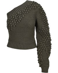 Helmut Lang One-shoulder Knitted Top - Green