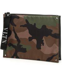 Valentino Valentino Garavani Camouflage Clutch Bag - Green