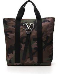 Valentino V Ring Camouflage Print Tote Bag - Black