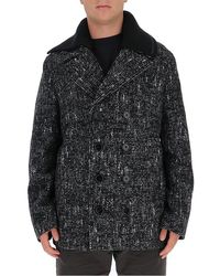 Dolce & Gabbana Double Breasted Tweed Coat - Black