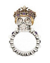 Alexander McQueen Crowned Skull Ring - Metallic