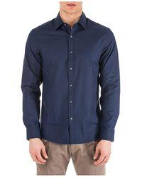 Michael Kors Men's Long Sleeve Shirt Dress Shirt - Blue