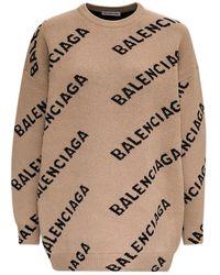 Balenciaga Allover Logo Intarsia Jumper - Natural