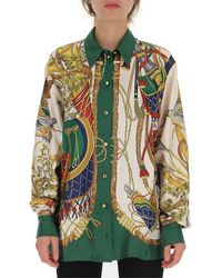 Gucci Graphic Printed Button-up Shirt - Green