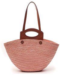 Tod's Medium Straw Tote Bag - Pink
